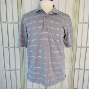 George Polo Rugby Shirt Gray Stripe Short Sleeve